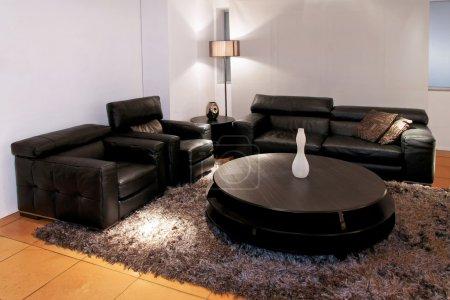 Photo pour Salon moderne noir avec deux canapés - image libre de droit