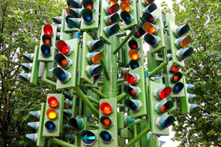 Photo for Lot of traffic lights at big pole - Royalty Free Image