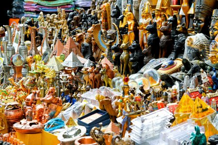 Egyptian souvenirs sold on Cairo market stall...