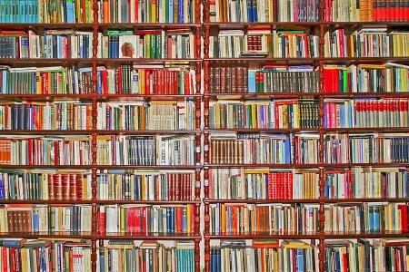 Photo pour Ensemble grand mur recouvert de beaucoup de livres - image libre de droit