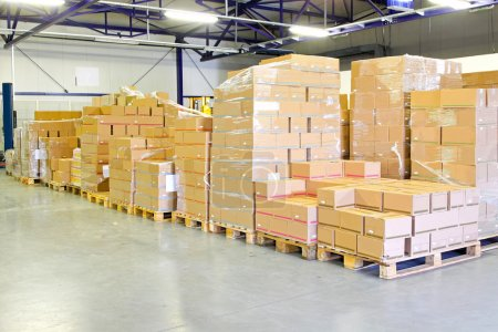 Photo for Big pile of box package in warehouse - Royalty Free Image