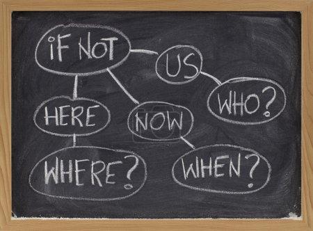 Photo pour Qui, quand la question où dans un diagramme de flux, la carte mentale ou la motivation concept - rugueux craie blanche sur tableau noir - image libre de droit