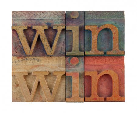 Photo for Win win strategy or conflict resolution concept - vintage wooden letterpress type blocks, stained by color ink, isolated on white, square composition - Royalty Free Image