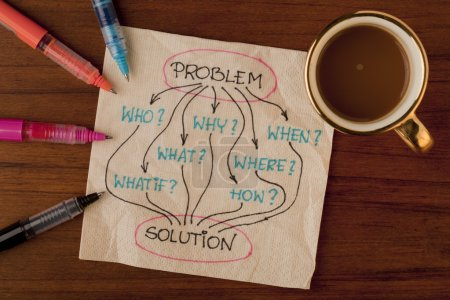 Photo for Brainstorming or decision making concept with basic questions - napkin concept - Royalty Free Image