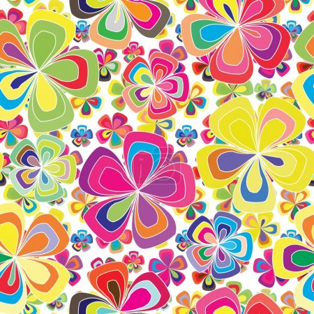 Illustration for Vivid colorful repeating flower background - Royalty Free Image
