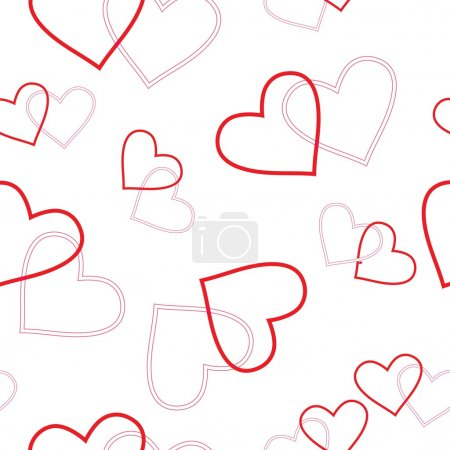 Illustration for Seamlessly vector wallpaper valentine with hearts - Royalty Free Image