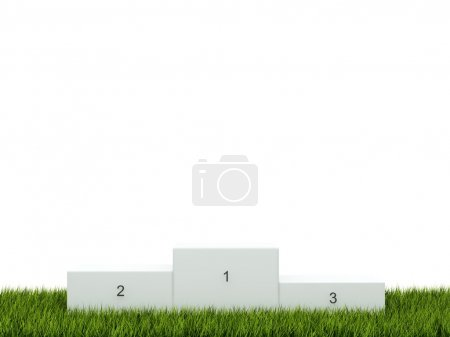 Photo for White podium on green grass - Royalty Free Image