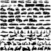 Transportation silhouettes collection 1 - vector