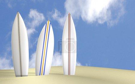 Photo pour Image de trois planches de surf sur une plage ensoleillée. - image libre de droit