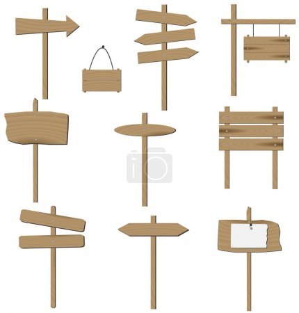 Ilustración de Vector conjunto de varios signos de madera. - Imagen libre de derechos