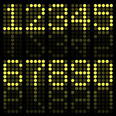 Image of yellow numbers on a dark background