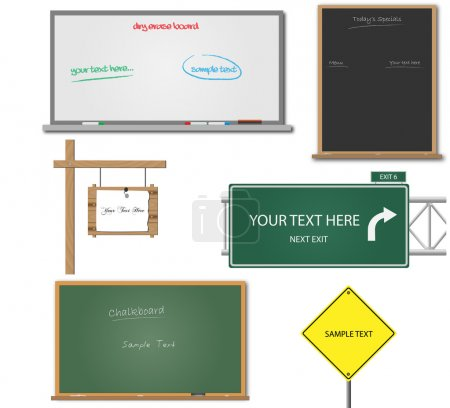 Illustration for Image of various blank signs and boards with editable text. - Royalty Free Image