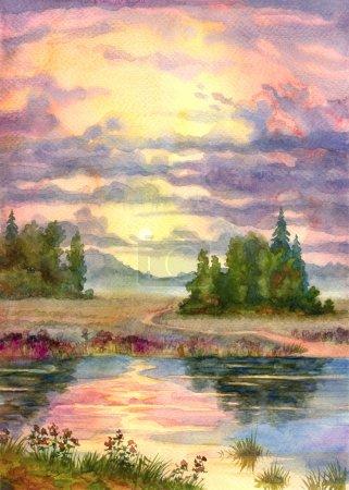 Photo pour Paysage aquarelle. La lueur du coucher du soleil sur un lac calme - image libre de droit