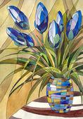 """Постер, картина, фотообои """"Абстрактные Цветы в вазе"""""""