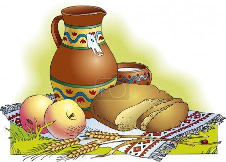 Vector drawing. Still life of apples, bread and mi...