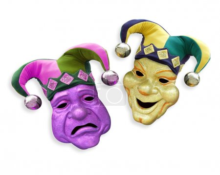 Photo for Mardi Gras comedy tragedy masks with jester hats on white background - Royalty Free Image