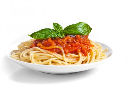 Photo for Spaghetti alla Bolognese isolated on white - Royalty Free Image