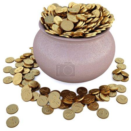 Photo pour Beaucoup de pièces dans le pot. avec chemin de coupe . - image libre de droit