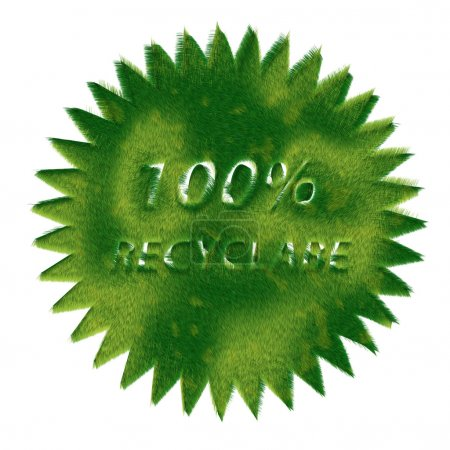 Photo for Recycling Signs made of green grass isolated on white background — one in a series of recycling symbols done in the same style. - Royalty Free Image