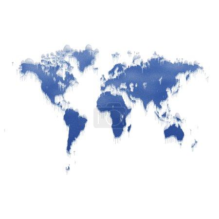 Photo for Melting Ice world map computer generated illustration - Royalty Free Image