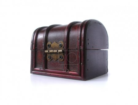 Photo for Antique wooden treasure chest isolated on white background - Royalty Free Image
