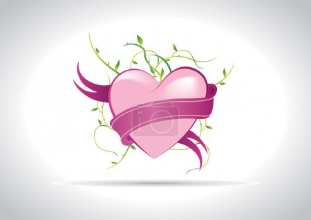 Photo for Eye candy pink heart with ribbon and nature elements - Royalty Free Image
