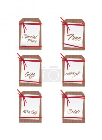Photo for A set of six sales tags with red ribbons done in . - Royalty Free Image