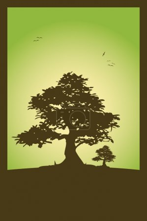 Photo for Green background and trees on top of a hill illustration - Royalty Free Image