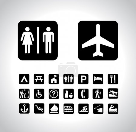Photo for Vector Map Pictographs Collection. As a designer, i have found myself lots of times looking for these symbols. - Royalty Free Image