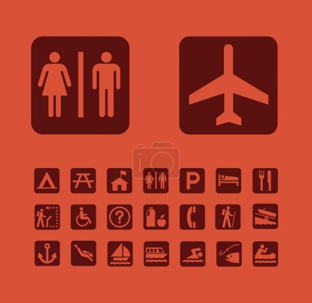 Photo for Map Pictographs Icons Set - Royalty Free Image