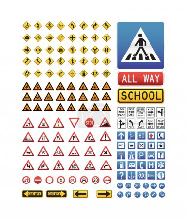 Photo for A set of vector icons illustrating traffic sign - Royalty Free Image