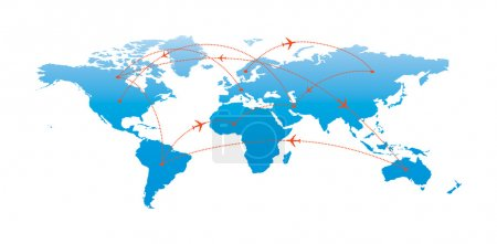 Photo for Globe Map illustrating the concept of air traveling. - Royalty Free Image