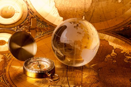 Photo for Treasure map, old navigation system, compass and rope - Royalty Free Image