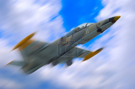 Photo for Military fighter jet airplane on blue sky background - Royalty Free Image
