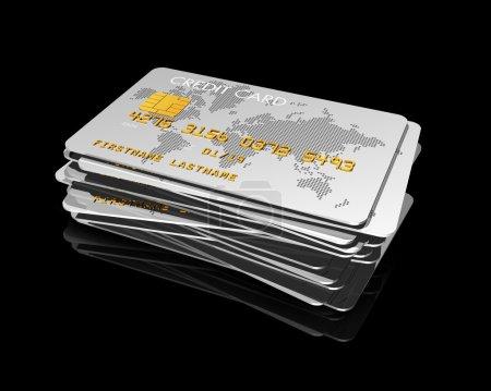 Photo pour Empilement de cartes de crédit en argent isolé sur noir avec chemin de coupure - image libre de droit
