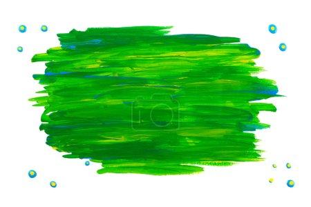 Photo pour Cadre / tache de peinture acrylique verte. Fond blanc pur . - image libre de droit