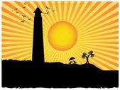 Silhouette lighthouse beach sunny rays