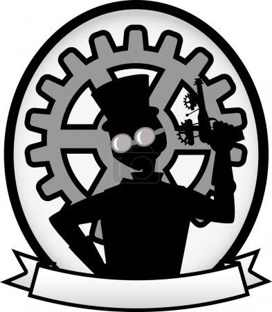 Silhouette Steampunk Man Gray Banner