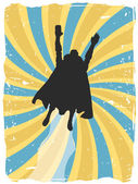 Flying superhero travel up through abstract blue and yellow swirl grungy surroundings