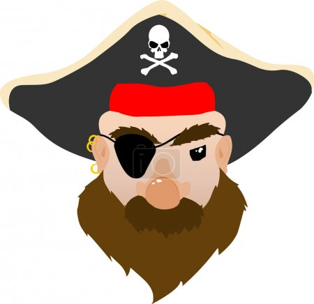 Face of a mean Pirate Vector Cartoon