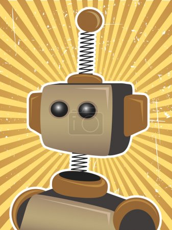 Retro Grunge Robot Protrait Propaganda Poster surrounded by bright brown su