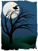 Single Bird Sits on Creepy Curvy Tree at night under full moon surrounded b