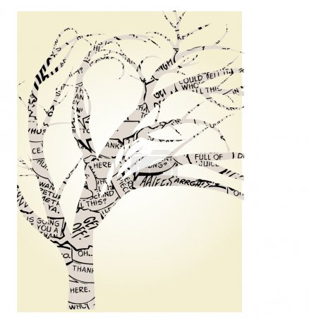 Illustration pour Ballons de mot abstrait dessinée masquées par les arbres bien roulée - image libre de droit
