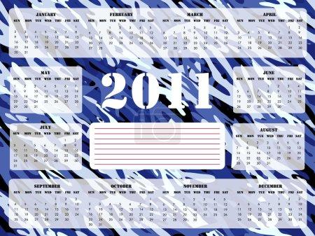 2011 Calendar in Blue - Sunday Start