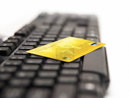 Online payment - credit cards on keybord