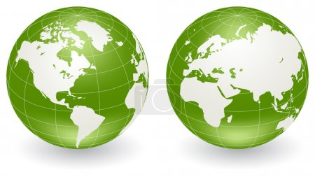 Illustration for Two vector globes of Earth, isolated on a white - Royalty Free Image
