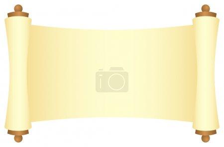 Illustration pour Rouleau jaune avec plateaux en bois, vue dégagée. Isolé sur un blanc. Illustration vectorielle . - image libre de droit