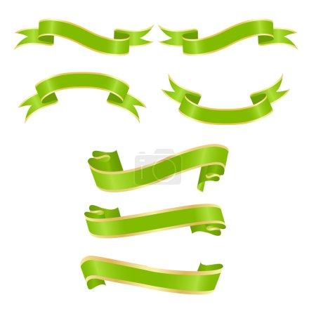 Illustration pour Ensemble de bannières horizontales à ruban vert. Illustration vectorielle, isolée sur un blanc . - image libre de droit