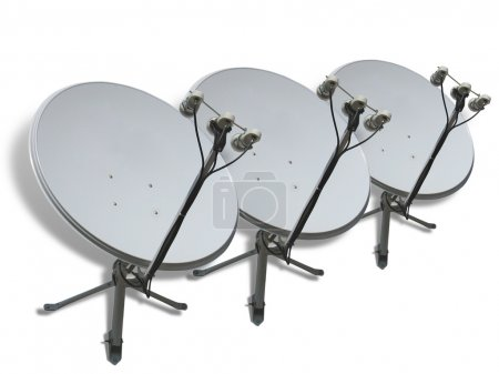 Satellite dishes row concept isolated on white bac...