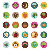 Collection of badge icons with nature motifs isolated on white